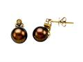 Carlo Viani® South Sea Brown Cultured  Pearl Earrings with Brown Diamonds