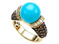 Carlo Viani 7mm Blue Turquoise Ring with Brown Diamonds