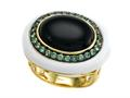 Carlo Viani 14K Yellow Gold Plated Silver Onyx Ring with Tsavorite and White Agate