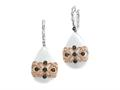 Carlo Viani 925 Sterling Silver White Agate Earrings with White Topaz and Smokey Quartz Gems