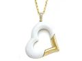 Carlo Viani 14K Yellow Gold Loop and 14k Yellow Gold Plated Silver White Agate Heart Shape Pendant