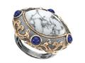 Carlo Viani 14K Rose Gold Plated Howlite Ring with Lapis Gemstones