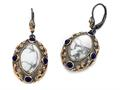 Carlo Viani® Rose Gold Plated Howlite Earrings with Lapis Stones