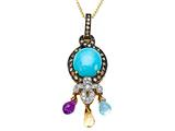 Carlo Viani® Blue Turquoise Pendant with Brown Diamonds and Amethyst, Citrine and Blue Topaz Briolette Dangle style: C101-0016