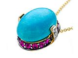 Carlo Viani Blue Turquoise Pendant with Diamonds and Pink Sapphire