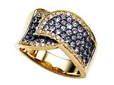 Carlo Viani® Ring / Band in Yellow Gold with Round Diamonds and Tanzanites