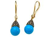 Carlo Viani® 7mm Blue Turquoise Earrings with Brown Diamonds style: C102-0083