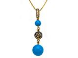 Carlo Viani® Blue Turquoise Pendant with Brown Diamonds and Citrine style: C102-0089