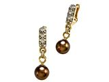 Carlo Viani South Sea Brown Pearl Earrings with Brown Diamonds