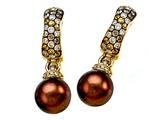 Carlo Viani® South Sea Brown Cultured Pearl Earrings with Brown Diamonds style: C102-0113