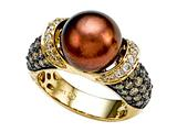Carlo Viani South Sea Brown Pearl Ring with Brown Diamonds