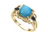 Carlo Viani 14K Yellow Gold Blue Turquoise Ring with Blue Sapphire