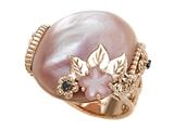 Carlo Viani 14K Rose Gold Pink Mother of Pearl Ring with Black Diamonds