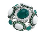 Carlo Viani® 925 Sterling Silver Silver Ring, Mix of White Sapphire, Tsavorite, White Agate and Green Agate