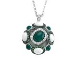 Carlo Viani 925 Sterling Silver Silver Pendant, Mix of White Sapphire, Tsavorite, White Agate, and Onyx