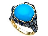 Carlo Viani® 7mm Blue Turquoise Ring with Blue Sapphires style: C106-0035