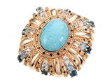 Carlo Viani 14K Rose Gold Plated Silver Blue Turquoise Ring