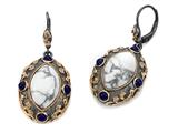 Carlo Viani 14K Rose Gold Plated Howlite Earrings with Lapis Gemstones