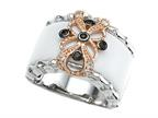 Carlo Viani 925 Sterling Silver White Agate Ring with White Topaz and Smoky Quartz Gems Style number: C103-0150