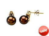 Carlo Viani® South Sea Brown Cultured  Pearl Earrings with Brown Diamonds style: C102-0111