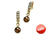 Carlo Viani® South Sea Brown Cultured Pearl Earrings with Brown Diamonds style: C102-0112