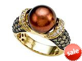 Carlo Viani® South Sea Brown Pearl Ring with Brown Diamonds