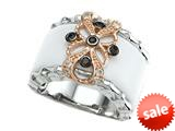 Carlo Viani® 925 Sterling Silver White Agate Ring with White Topaz and Smoky Quartz Gems