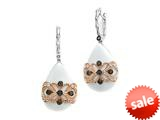 Carlo Viani® 925 Sterling Silver White Agate Earrings with White Topaz and Smokey Quartz Gems