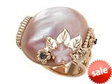 Carlo Viani® 14K Rose Gold Pink Mother of Pearl Ring with Black Diamonds