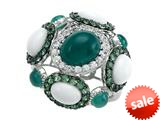 Carlo Viani® 925 Sterling Silver Ring, Mix of White Sapphire, Tsavorite, White Green Agate style: C103-0589