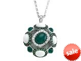 Carlo Viani® 925 Sterling Silver Silver Pendant, Mix of White Sapphire, Tsavorite, White Agate, and Onyx style: C103-0590