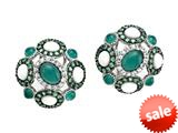 Carlo Viani® 925 Sterling Silver Silver Earrings, Mix of White Sapphire, Tsavorite, White Agate, and Onyx