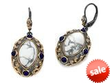 Carlo Viani® Rose Gold Plated Howlite Earrings with Lapis Gemstones style: C110-0037
