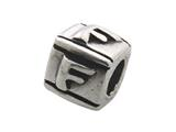 Zable™ Sterling Silver Block F-Letter Bead / Charm style: BZ0106