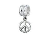 Zable™ Sterling Silver Dangle Peace Sign Pandora Compatible Bead / Charm