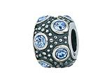 Zable™ Sterling Silver March Crystal Ball Bead / Charm