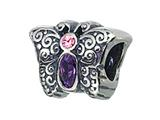 Zable™ Sterling Silver Butterfly With Crystals Pandora Compatible Bead / Charm