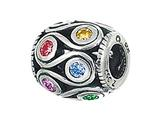 Zable Sterling Silver Loops With Multicolor Crystals Pandora Compatible Bead / Charm