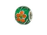 Zable™ Sterling Silver Green/Orange Flower Murano Glass Pandora Compatible Bead / Charm style: BZ0885