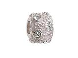 Zable™ Sterling Silver April Crystal Ball Non-oxidized Pandora Compatible Bead / Charm style: BZ1041