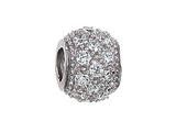 Zable™ Sterling Silver Pave CZ Spacer Bead / Charm