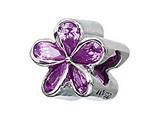 Zable Sterling Silver Purple Plumeria With CZ Pandora Compatible Bead / Charm