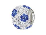 Zable Sterling Silver Blue Flower Pandora Compatible Bead / Charm
