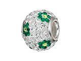 Zable™ Sterling Silver Green Flower Pandora Compatible Bead / Charm style: BZ1214