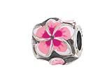 Zable Sterling Silver Plumeria Enamel Bead / Charm