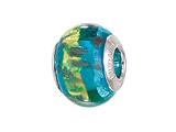 Zable™ Sterling Silver Blue with Gold/Copper Glitter Murano Glass Pandora Compatible Bead / Charm
