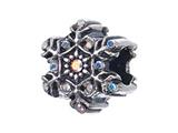 Zable Sterling Silver Snowflake With Crystals Pandora Compatible Bead / Charm