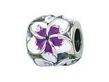 Zable Sterling Silver Plumeria Enamel Pandora Compatible Bead / Charm