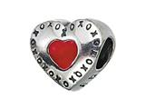 "Zable™ Sterling Silver Red Heart with XO""s Pandora Compatible Bead / Charm style: BZ2100"