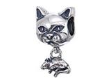 Zable Sterling Silver Cat With Mouse Bead / Charm